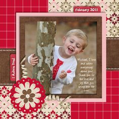 Boy Scrapbook layout page using red, white, pink and brown.  Love the colors.