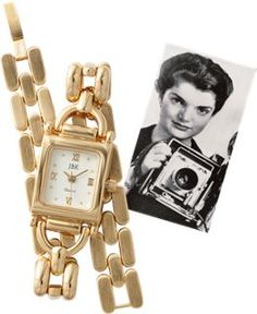 Jackie Kennedy Bracelet Watch- Just like the one that was a college graduation gift from her father in 1952, woren most often in her early years as a roving photographer for the Washington Times-Herald. I'ts the one you'll reach for time and again,24k gold-plated bracelet watch exudes an everyday elegance worthy of countless styles.Has its own serial number engraved on the back,white dial,gold-tone hands, Roman numerals,Seiko quartz movement, adjustable clasp.Vermont Country Store 80oo