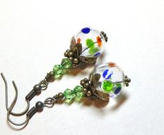 Jewelry, Earrings, Blue, Green, Red Hand Blown Hollow, Swarovski Peridot Austrian Crystal,  Antique Brass. $8.00, via Etsy.