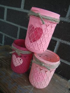 Valentine's Day votive candle holder mason jars