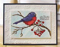 Frankie Helps Craft—The Details:  Stampendous Snow Bird, Hot Off the Press Snowflakes sentiment, Distress Inks, Paper Studio embossing folder, Artist's Loft watercolor paper, MFT stitched rectangle die, Recollections white cardstock base, mystery navy blue cardstock, Scotch foam tape.