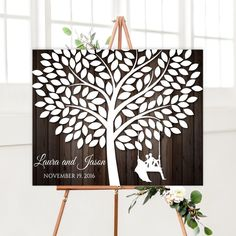 Rustic Wedding Guestbook Alternative with Tree, Wooden guest book alternative canvas, Wedding Signature Tree