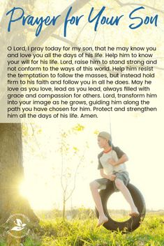 A daily prayer for your son, that he may grow into all God has planned for him, to be a faithful servant and example of a life led by Christ. Let this prayer for your son help you surrender his life and future to the Lord. Prayer Scriptures, Bible Prayers, Catholic Prayers, God Prayer, Daily Prayer, Bible Verses, Prayer For Your Son, Prayer For Our Children, Prayers For Kids