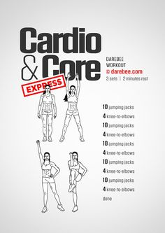 Cardio & Core Express Workout by DAREBEE #darebee #workout #fitness
