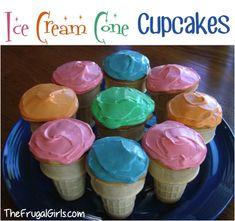 Ice Cream Cone Cupcake Recipe! ~ these make the perfect summer dessert or fun party treat! #cupcake #cones