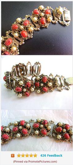 Coral Art Glass Bracelet, Victorian Revival, Glass Pearls, Book Chain, Vintage #bracelet #victorianrevival #coralartglass #artglass https://www.etsy.com/RenaissanceFair/listing/561412012/coral-art-glass-bracelet-victorian?ref=listings_manager_grid  (Pinned using https://PromotePictures.com)