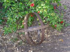 Whiskey barrell hoops made into sphere for yard/garden.