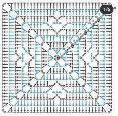 Crochet Squares, Granny Square Crochet Pattern, Crochet Diagram, Crochet Chart, Crochet Granny, Filet Crochet, Crochet Motif, Granny Squares, Crochet Stitches For Blankets
