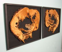 Hanging framed wood slices by VirginiaBirchfield on Etsy, $175.00