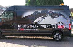 An effective manifestation style vehicle wrap to this black van. We printed the fading image of a hiab crane with a black outline to merge with the van colour so it appears the image is fading into the paintwork