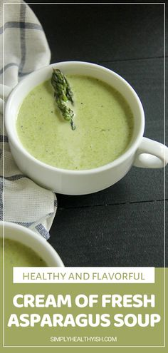 Cream of Fresh Asparagus Soup is a new favorite! This simple recipe comes together quite fast for a rich and velvety soup loaded with nutrients. A healthy and flavorful comfort food perfect to eat hot or cold. Save this and enjoy it for lunch or dinner! Creamed Asparagus, Fresh Asparagus, Easy Family Meals, One Pot Meals, Easy Meals, Family Recipes, Healthy Sweet Snacks, Nutritious Snacks, Cooking