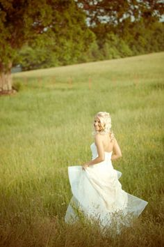 Country girl wedding. love the hair, dress, scenery, everything