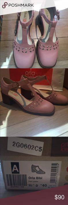 Orla Kiely Clarks Orla Bibi *Rare Find* Orla Kiely Clark Shoes Pink Leather EUR 40 US 9 Orla Keily Shoes Heels