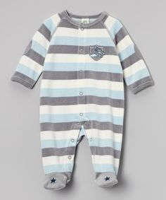 Take a look at this Blue Stripe Vintage Plane Velour Footie by Little Me on #zulily today!