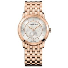Audemars Piguet Jules Audemars 18kt Rose Gold Ladies Watch ($35,244) ❤ liked on Polyvore featuring jewelry, watches, watch bracelet, pink bracelet watch, audemars piguet, pink jewelry and rose gold watch bracelet