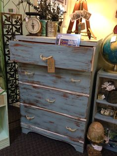 Heavy distressed nautical chest of drawers