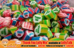 #ThankYou Lolly Mix. Comes in various packagings and various sizes. Ideal gifts to thank that someone special. #handmadecandy #rockcandy #Singapore #gifts #customizedcandy #lolly #candy #handmaderockcandy