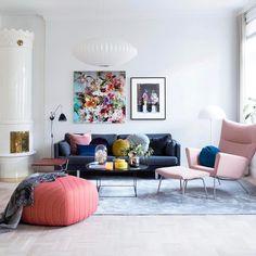 """2,743 Likes, 25 Comments - ELLE Decoration UK (@elledecorationuk) on Instagram: """"Beautiful spring style living room. Fabulous colours. Styling: @rikkesroom Photograph:…"""""""