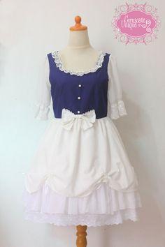 Snow White Dress Blue White Lace Lolita Fashion door CoruscateUnique, $147.00