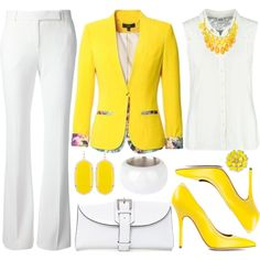 Beautiful office attire! This canary yellow jacket is everything!