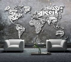 World map formed from the name of countries. Minimal Style, Minimal Fashion, Country Names, Gray Background, Home Office, Countries, Maps, World, Grey