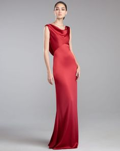 Gojee - Liquid Satin Cowl-Neck Gown by St. John
