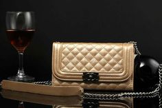 Chanel Samsung Galaxy S5 Leather Case Cover Gold W Mirror Free Shipping - Deluxeiphonecase.com