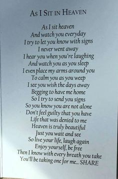 Grief quotes - Our loved ones live on through us As long as one person is alive that you loved, made memories together, or matter to, you are still remembered and loved The legacy in this world for most people is Letter From Heaven, Grief Poems, Dad Poems, Funeral Poems For Grandma, Family Poems, Miss My Mom, Sympathy Quotes, Heaven Quotes, Grieving Quotes