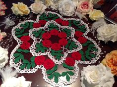 Made to order crochet doily with flowers holiday by KroneCrochet