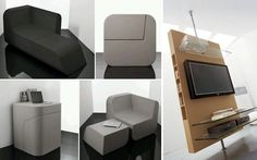 multifunctional Dual Cut by Kitmen Keung Smart Furniture, Unique Furniture, Furniture Projects, Furniture Decor, Furniture Design, Multifunctional Furniture Small Spaces, Furniture For Small Spaces, Space Saving, Home Goods