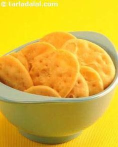This is a virtually fat free recipe for all low cal food lovers!   Crispy baked puris are delicious at any time of the day.  You can spice up the dough, if you prefer, adding a little chilli powder and cumin seeds. I personally like them just plain.  Again, I would suggest the you store large quantities in an air-tight container.