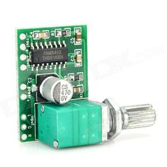 XTW8403 Mini 5V Digital Amplifier Board w/ Switch Potentiometer - Green. Hi-Fi digital chip, reasonable circuit; Power filter upgrade to 470uf; 1.6mm glass fiber board; Potentiometer's life up to 15 years, with switch, can cut off power directly; Power supply: DC 5V; Min. output: 3W x 2. Tags: #Electrical #Tools #Arduino #SCM #Supplies #Power
