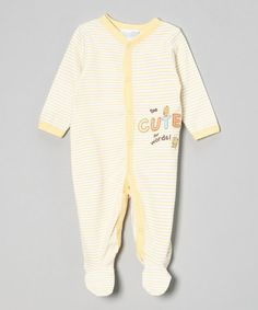 Look what I found on #zulily! Yellow Stripe 'Too Cute for Words!' Footie - Infant #zulilyfinds