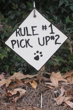 Dog Yard Sign Asks Politely For A Dog Walker To Clean Up After Their Dog's Mess, a change of pace from the no poop signs. $20.00, via Etsy.