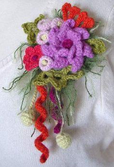 crochet pink flower brooch by meekssandygirl, via Flickr