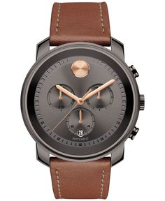 Diamond Watches Collection : Movado Men's Swiss Chronograph Bold Rustic Brown Leather Strap Watch - Watches Topia - Watches: Best Lists, Trends & the Latest Styles Men's Watches, Cool Watches, Watches For Men, Unique Watches, Popular Watches, Watches Online, Fashion Watches, Diamond Watches, Elegant Watches