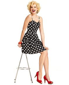 Marilyn Monroe Juniors Dress, Sleeveless Polkadot-Print A-Line - Juniors Marilyn Monroe - Macys - This is the cutest! Love Macy's Marilyn collection!