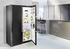 Liebherr Blacksteel fridge lauded with iF Design Award - Inside ID.  Award winning but too large.  Not sure why it's award winning.  Has rails so drawers can be pulled out completely.