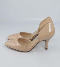 Beige Nude Patent  Awesome D' Orsay Pointy Pointed Toe Stiletto Mid Heel Pumps #CityClassified #DOrsay