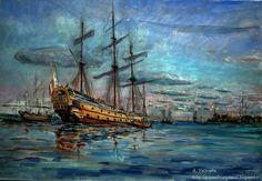 Pintura al óleo de El Glorioso, barco histórico de la Armada Española que se batió en 4 ocasiones con grupos de la Royal Navy derrotándolos  en tres de esos encuentros. El Glorioso navegaba en solitario lo cual lo hace todavía más insólito, solo dejó de combatir al acabar su munición, #BatallaNaval #Armada