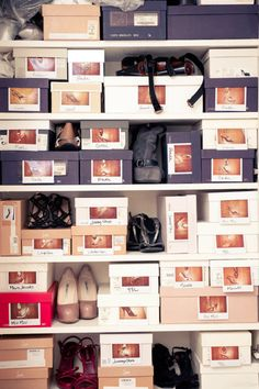 advice on how to organize your closet from rachel zoe. putting a picture of the shoes out on the shoe box.
