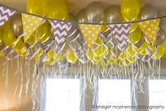 Yellow Polka Dot and Grey Chevron Fabric Pennant Bunting Banner  - great for grey yellow showers parties cake smash & more!