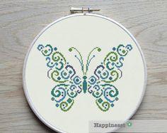 cruz puntada patrón mariposa moderno punto de Cruz por Happinesst