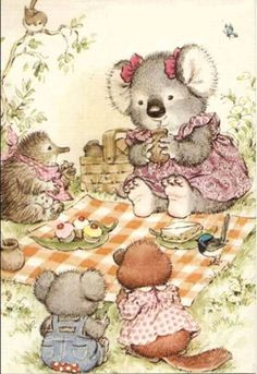 "Koala picnic. . .this is so darling :) Could be right out one of my favorite ""Frances"" children's books!"