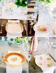 Let's Dish About Mismatched Vintage Dishes :  wedding costa rica decor registry Vintage