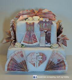 Hei hei :) I dag vil jeg vise dere en pengekake jeg har laget. Når man skal gi brudeparet en del penger er det jo morsomt å gjøre no...