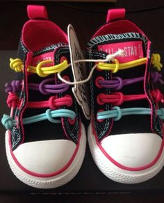 Girls Toddler Black CONVERSE ALL STAR STRETCH LACES Sneakers Slip On Shoes Sz 6