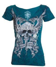 Rebel Saints AFFLICTION Womens T-Shirt GRACE Skull Tattoo Biker Sinful S-XL $40 #Affliction #GraphicTee