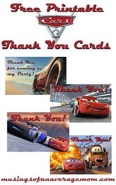 Free printable Cars 3 Thank you cards!