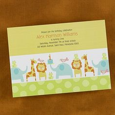 Animal 1st Birthday - Birthday Invitation - Bright White   These zoo animals are ready to celebrate your child's first birthday on this bright white card.